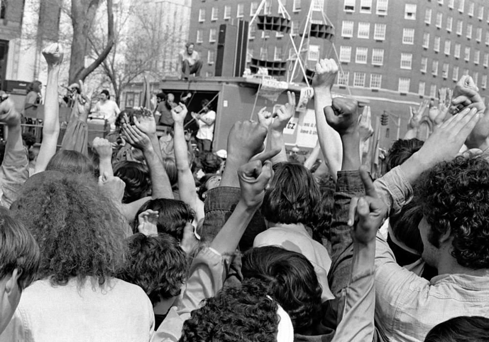 Crowd response, New Haven Green, May Day, 1970