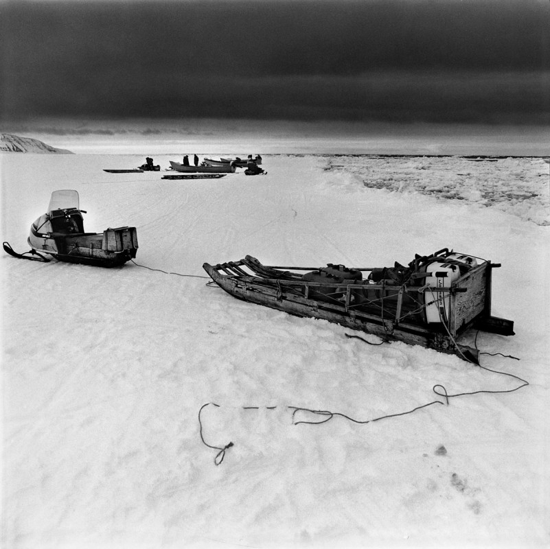 After Seal Hunting, high tide, Tununak, Alaska, April 1975