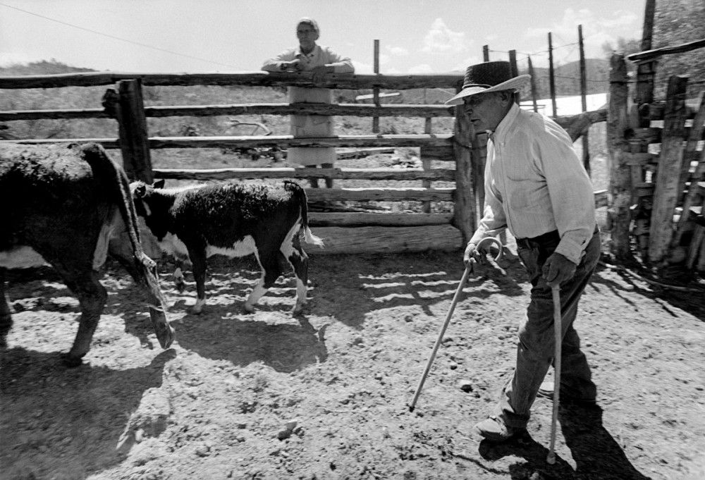 Jacobo and Eloisa at the corral, El Valle, New Mexico, 1979