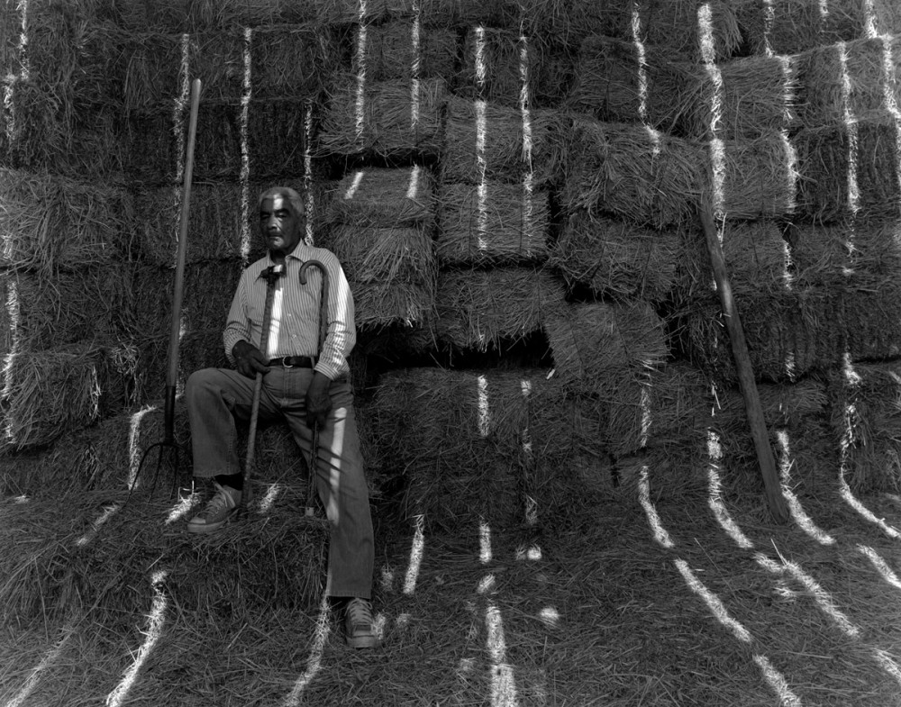 Jacobo Romero in his barn, El Valle, New Mexico, 1979