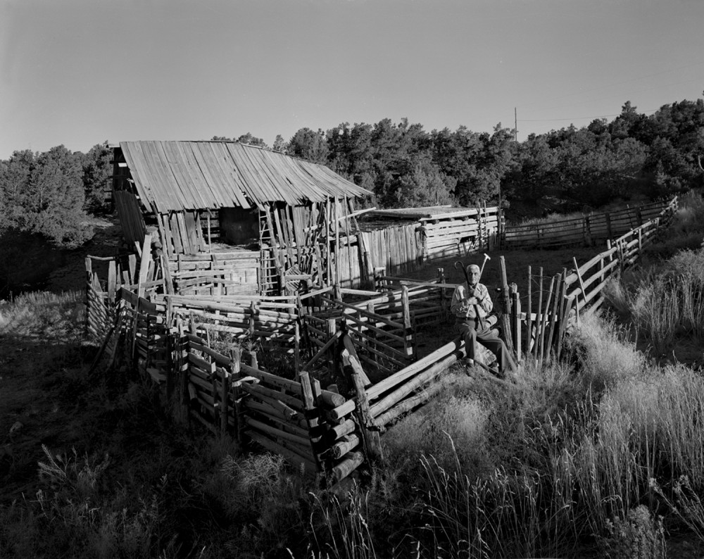 Jacobo at his barn and corral, El Valle, New Mexico, 1979