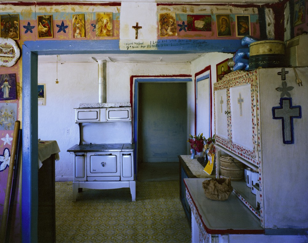 Amadeo Sandoval's kitchen and bedroom, Río Lucío, New Mexico, June 1985