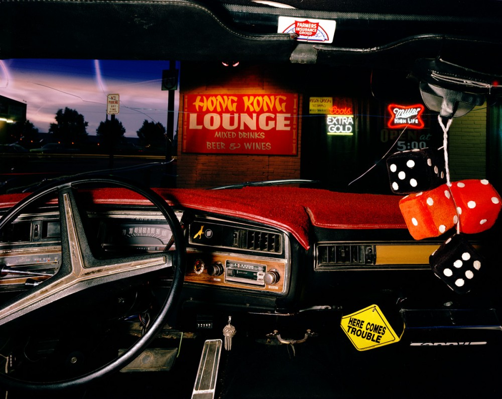Hong Kong Lounge, Las Vegas, New Mexico, looking north from Richard Lucero's 1972 Buick Centurian, July 1987