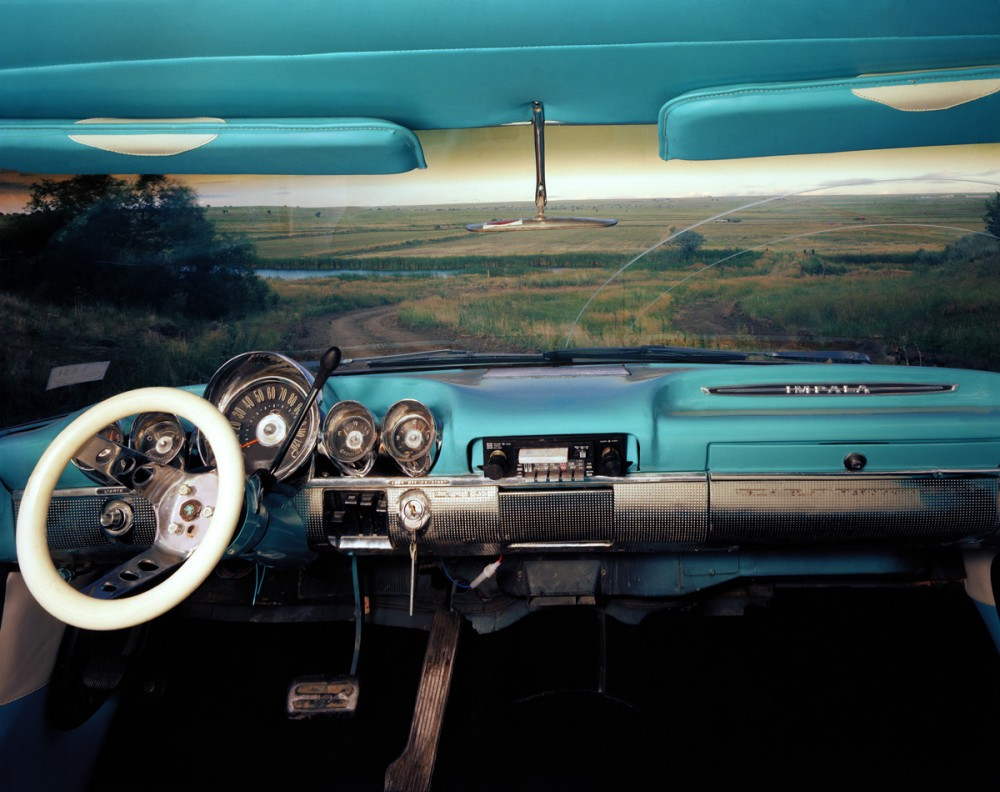 Las Vegas, New Mexico, Looking east from Myles Sweeney's 1960 Chevrolet Impala, July 1987