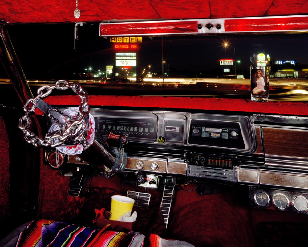 Furr's parking lot, Saturday Night,  Espanola, New Mexico, looking south from J. R. Roybal's 1966 Chevrolet Caprice, Feburary 1987