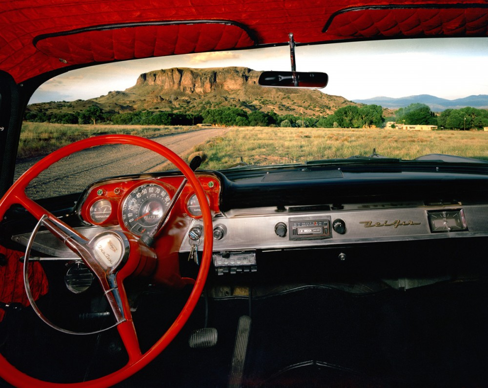 Black Mesa, New Mexico, looking east from Fred Cata's 1957 Chevrolet Belair, July 1987