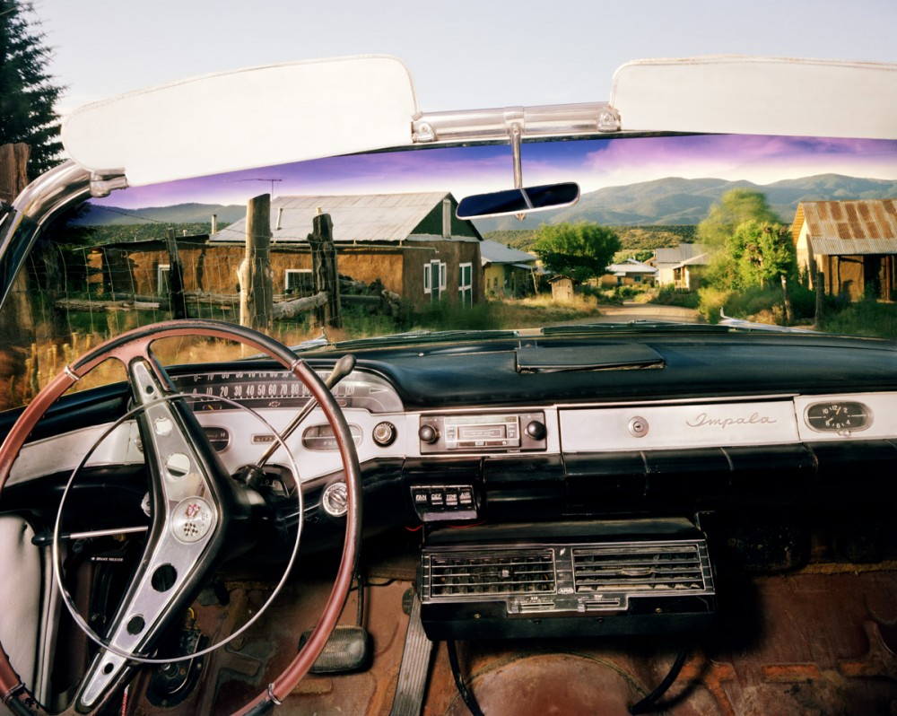 Chamisal, New Mexico, looking north from Juan Dominguez's 1957 Chevrolet Impala, July 1987