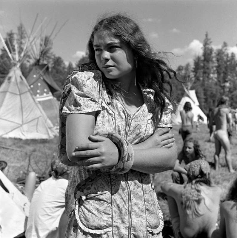 Snake woman, The Rainbow Gathering, Alpine, Arizona, July 1979