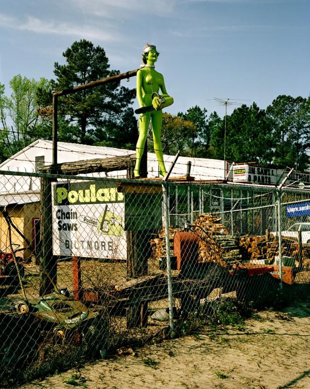 Chain saw repair, North Carolina, 1985