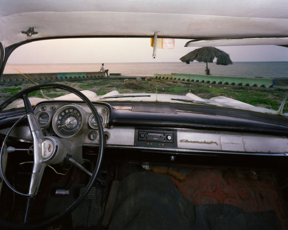 The beach at Miramar, looking north from Rudy Hermando  Ramos's 1957 Chevrolet, Havana, May 20, 1998
