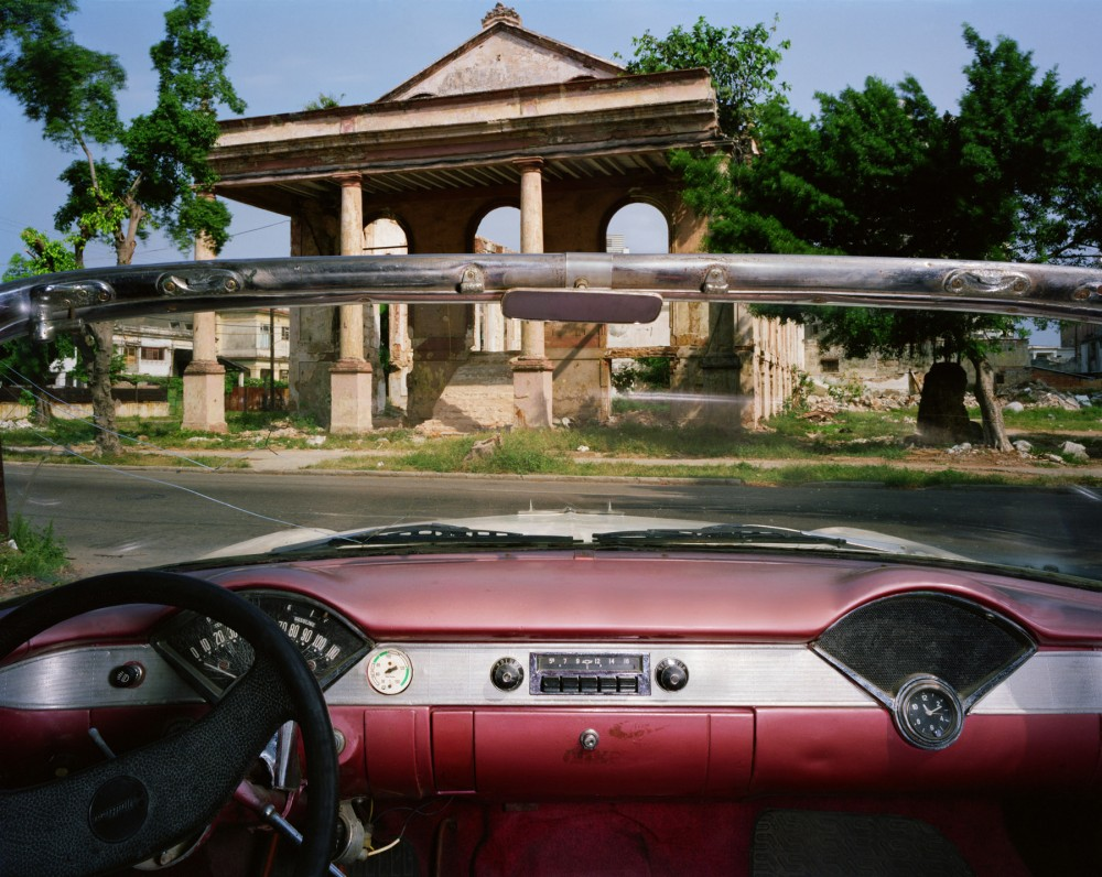 Ruins of the Troya Hotel, Paseo 405 between 17 and 19, Vedado, looking north from Jorge Chicola's 1956 Chevrolet Bel Air, Havana, May 24, 1998