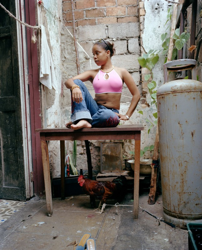 Woman and rooster, October 2003