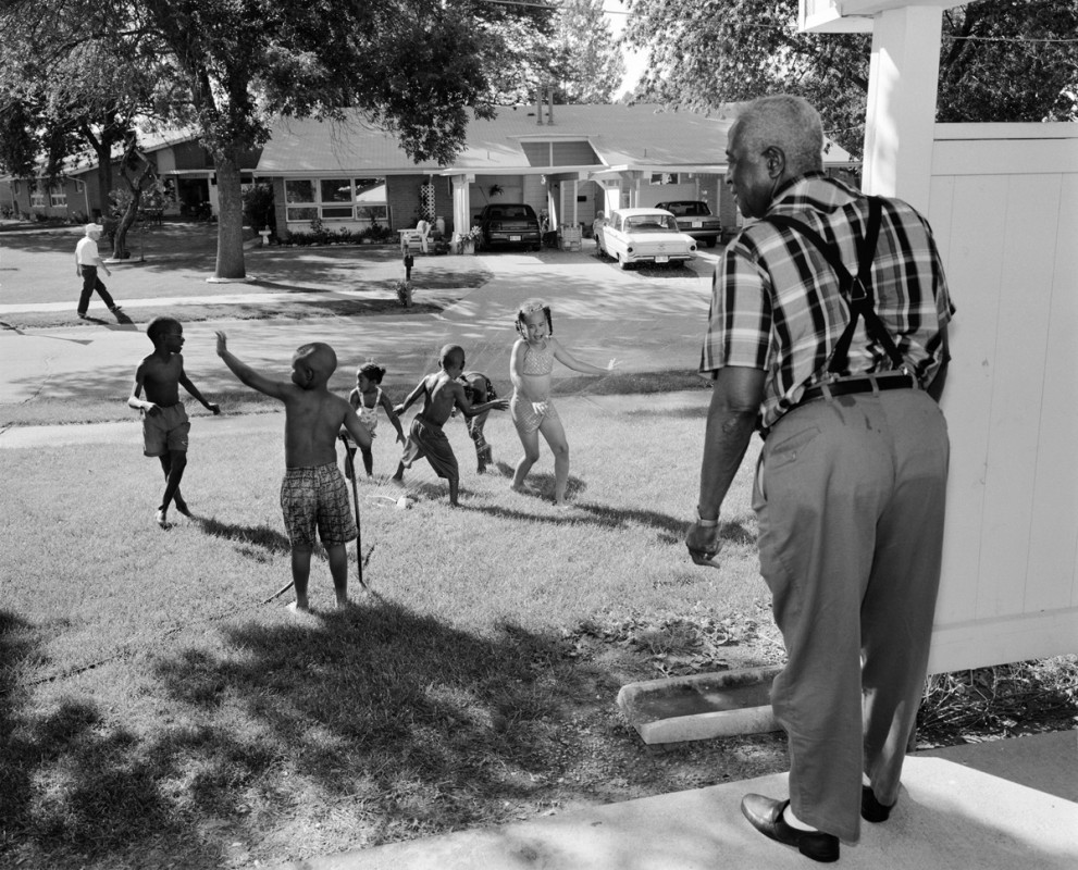 George King on duty behind the Intergenerational Center, Hope Meadows, Rantoul, Illinois 2001