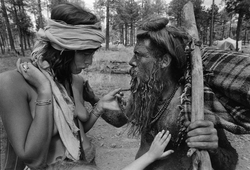 An encounter with the mud man, en route to the children's parade, The Rainbow Gathering, Alpine Arizona, July 1979
